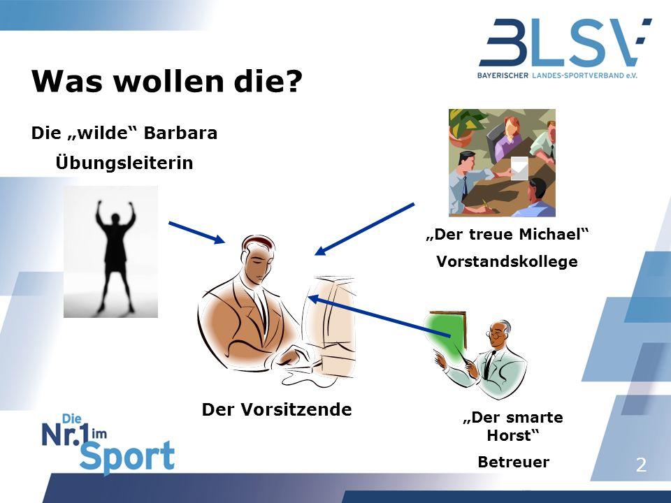 2 Der Vorsitzende Die wilde Barbara Übungsleiterin Der treue Michael Vorstandskollege Der smarte Horst Betreuer Was wollen die?