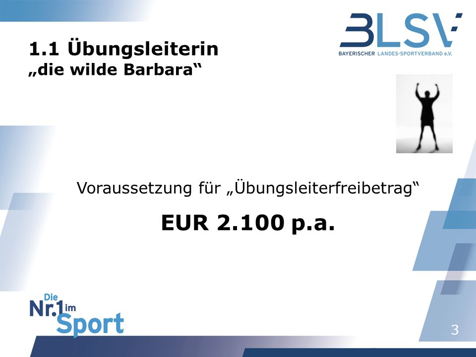 3 1.1 Übungsleiterin die wilde Barbara Voraussetzung für Übungsleiterfreibetrag EUR 2.100 p.a.