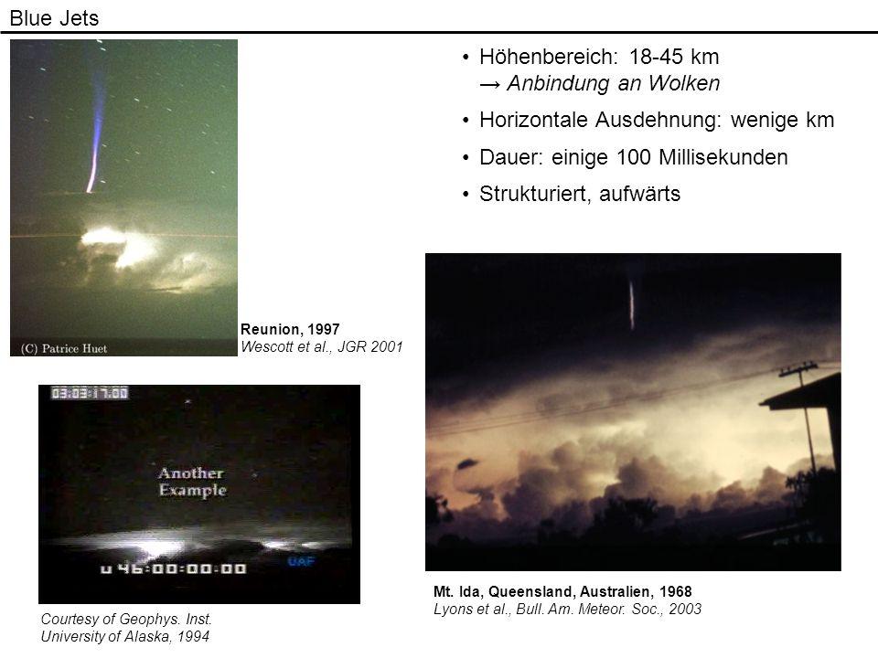 Blue Jets Höhenbereich: 18-45 km Anbindung an Wolken Horizontale Ausdehnung: wenige km Dauer: einige 100 Millisekunden Strukturiert, aufwärts Reunion,