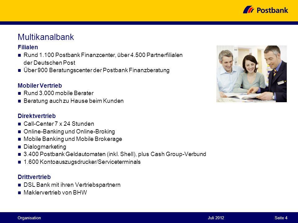 Juli 2012Seite 4 Multikanalbank Filialen Rund 1.100 Postbank Finanzcenter, über 4.500 Partnerfilialen der Deutschen Post Über 900 Beratungscenter der