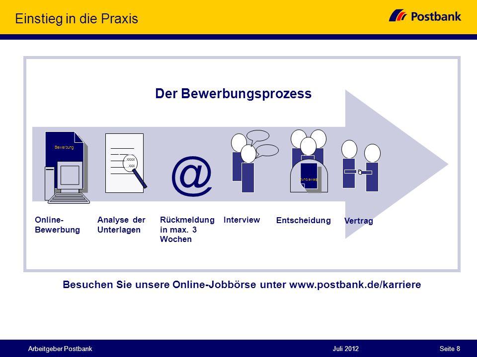 Juli 2012Seite 8Arbeitgeber Postbank Einstieg in die Praxis Der Bewerbungsprozess Bewerbung ____________ ________XXXX _________XXX _____________ Bewer