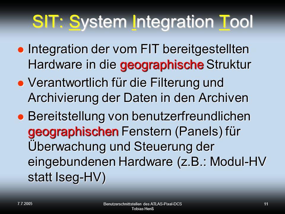 7.7.2005 Benutzerschnittstellen des ATLAS-Pixel-DCS Tobias Henß 11 SIT: System Integration Tool Integration der vom FIT bereitgestellten Hardware in die geographische Struktur Integration der vom FIT bereitgestellten Hardware in die geographische Struktur Verantwortlich für die Filterung und Archivierung der Daten in den Archiven Verantwortlich für die Filterung und Archivierung der Daten in den Archiven Bereitstellung von benutzerfreundlichen geographischen Fenstern (Panels) für Überwachung und Steuerung der eingebundenen Hardware (z.B.: Modul-HV statt Iseg-HV) Bereitstellung von benutzerfreundlichen geographischen Fenstern (Panels) für Überwachung und Steuerung der eingebundenen Hardware (z.B.: Modul-HV statt Iseg-HV)