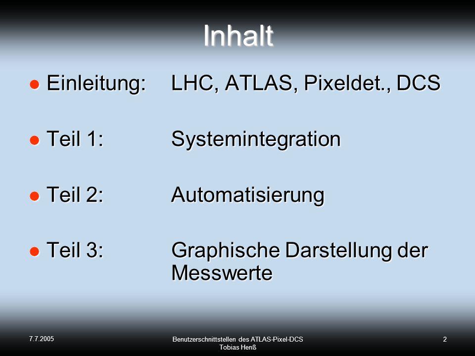 7.7.2005 Benutzerschnittstellen des ATLAS-Pixel-DCS Tobias Henß 2Inhalt Einleitung: LHC, ATLAS, Pixeldet., DCS Einleitung: LHC, ATLAS, Pixeldet., DCS Teil 1: Systemintegration Teil 1: Systemintegration Teil 2:Automatisierung Teil 2:Automatisierung Teil 3:Graphische Darstellung der Messwerte Teil 3:Graphische Darstellung der Messwerte