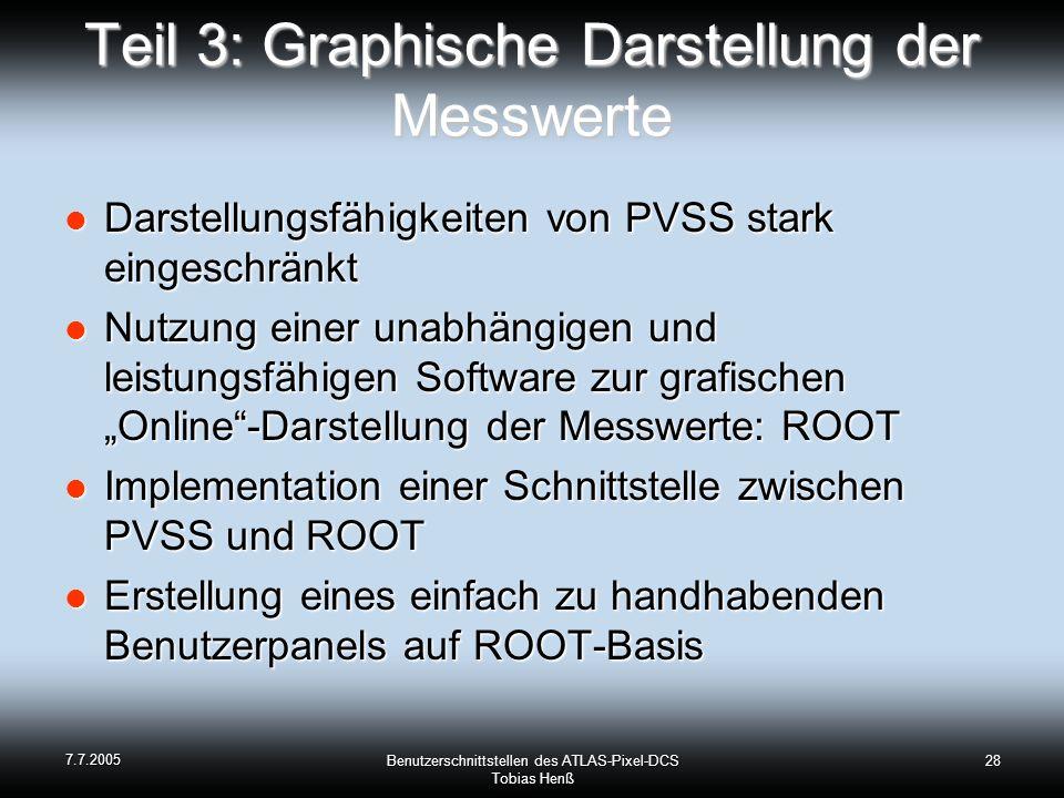 7.7.2005 Benutzerschnittstellen des ATLAS-Pixel-DCS Tobias Henß 28 Teil 3: Graphische Darstellung der Messwerte Darstellungsfähigkeiten von PVSS stark