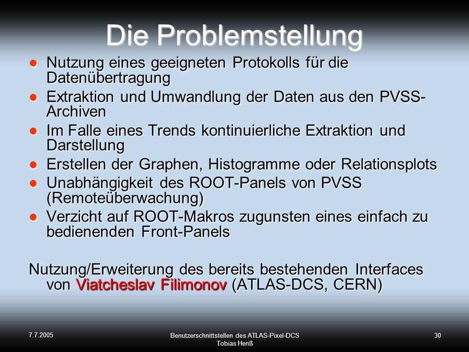 7.7.2005 Benutzerschnittstellen des ATLAS-Pixel-DCS Tobias Henß 30 Die Problemstellung Nutzung eines geeigneten Protokolls für die Datenübertragung Nu