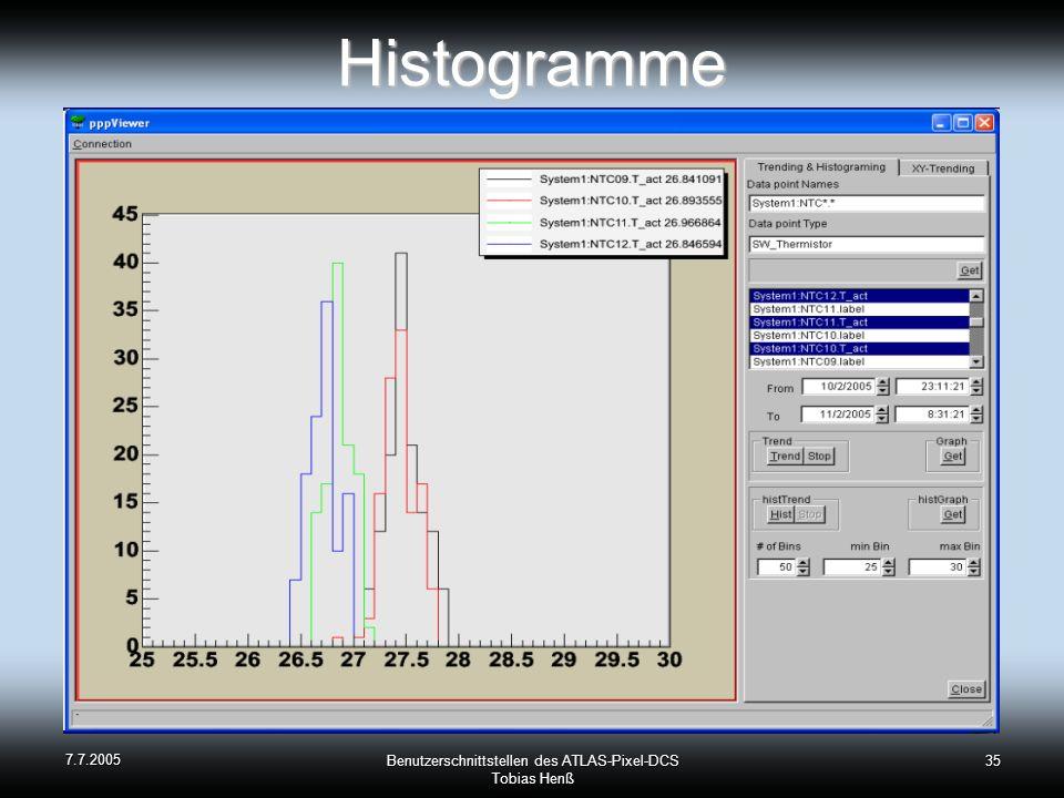 7.7.2005 Benutzerschnittstellen des ATLAS-Pixel-DCS Tobias Henß 35Histogramme