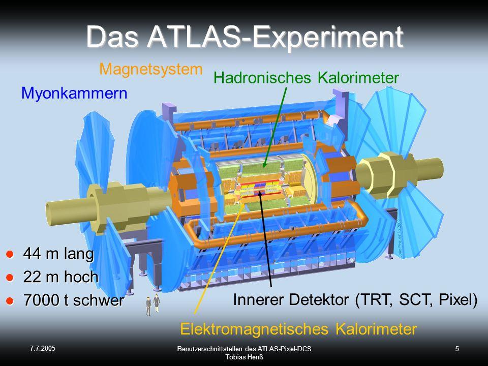 7.7.2005 Benutzerschnittstellen des ATLAS-Pixel-DCS Tobias Henß 5 Das ATLAS-Experiment 44 m lang 44 m lang 22 m hoch 22 m hoch 7000 t schwer 7000 t schwer Myonkammern Hadronisches Kalorimeter Magnetsystem Elektromagnetisches Kalorimeter Innerer Detektor (TRT, SCT, Pixel)