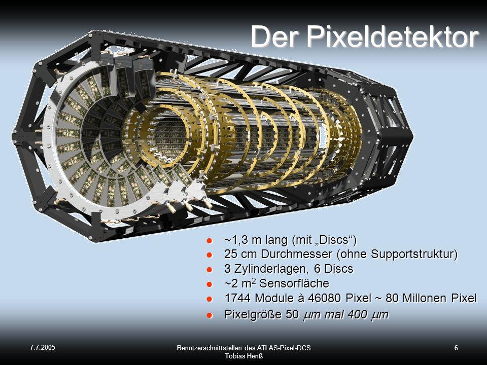 7.7.2005 Benutzerschnittstellen des ATLAS-Pixel-DCS Tobias Henß 6 Der Pixeldetektor Der Pixeldetektor ~1,3 m lang (mit Discs) ~1,3 m lang (mit Discs) 25 cm Durchmesser (ohne Supportstruktur) 25 cm Durchmesser (ohne Supportstruktur) 3 Zylinderlagen, 6 Discs 3 Zylinderlagen, 6 Discs ~2 m 2 Sensorfläche ~2 m 2 Sensorfläche 1744 Module à 46080 Pixel ~ 80 Millonen Pixel 1744 Module à 46080 Pixel ~ 80 Millonen Pixel Pixelgröße 50 m mal 400 m Pixelgröße 50 m mal 400 m