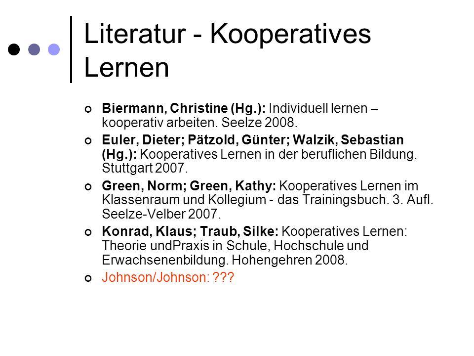 Literatur - Kooperatives Lernen Biermann, Christine (Hg.): Individuell lernen – kooperativ arbeiten. Seelze 2008. Euler, Dieter; Pätzold, Günter; Walz