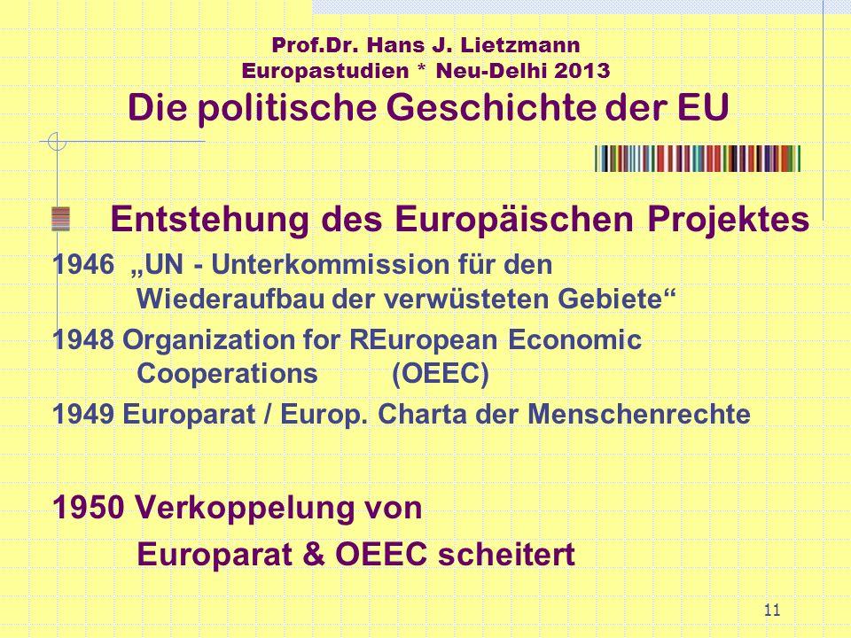 11 Prof.Dr. Hans J. Lietzmann Europastudien * Neu-Delhi 2013 Die politische Geschichte der EU Entstehung des Europäischen Projektes 1946 UN - Unterkom