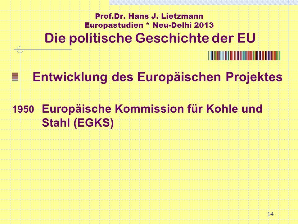 14 Prof.Dr. Hans J. Lietzmann Europastudien * Neu-Delhi 2013 Die politische Geschichte der EU Entwicklung des Europäischen Projektes 1950 Europäische