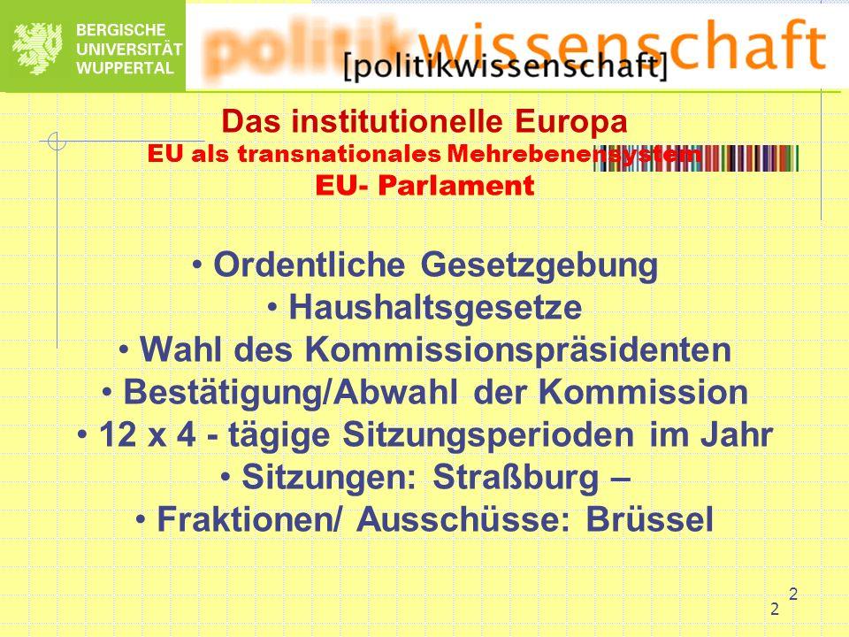 2 2 Das institutionelle Europa EU als transnationales Mehrebenensystem EU- Parlament Ordentliche Gesetzgebung Haushaltsgesetze Wahl des Kommissionsprä