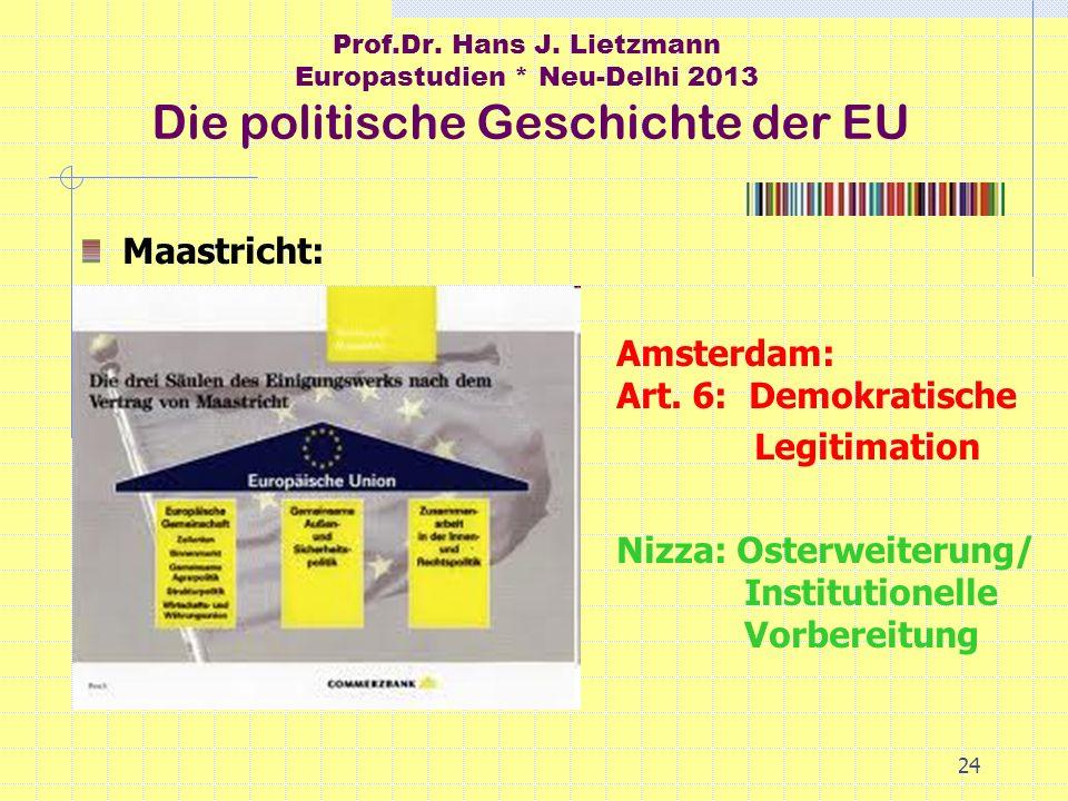 24 Prof.Dr. Hans J. Lietzmann Europastudien * Neu-Delhi 2013 Die politische Geschichte der EU Maastricht: Amsterdam: Art. 6: Demokratische Legitimatio