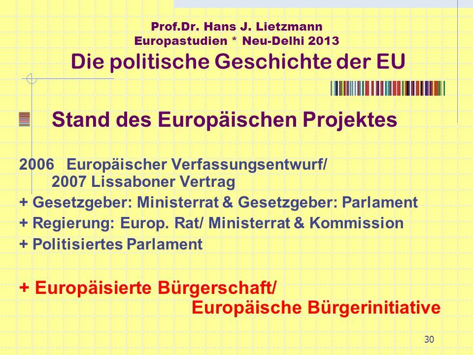 30 Prof.Dr. Hans J. Lietzmann Europastudien * Neu-Delhi 2013 Die politische Geschichte der EU Stand des Europäischen Projektes 2006Europäischer Verfas
