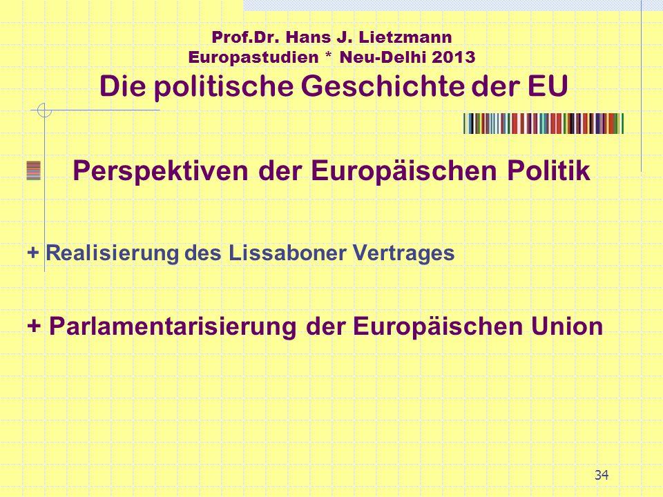 34 Prof.Dr. Hans J. Lietzmann Europastudien * Neu-Delhi 2013 Die politische Geschichte der EU Perspektiven der Europäischen Politik + Realisierung des