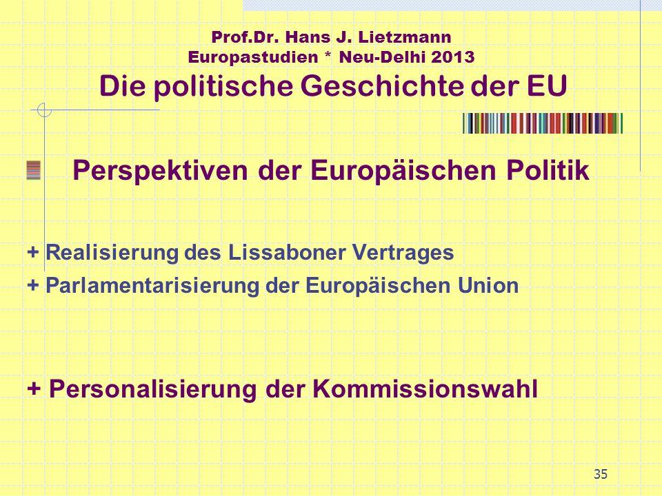 35 Prof.Dr. Hans J. Lietzmann Europastudien * Neu-Delhi 2013 Die politische Geschichte der EU Perspektiven der Europäischen Politik + Realisierung des