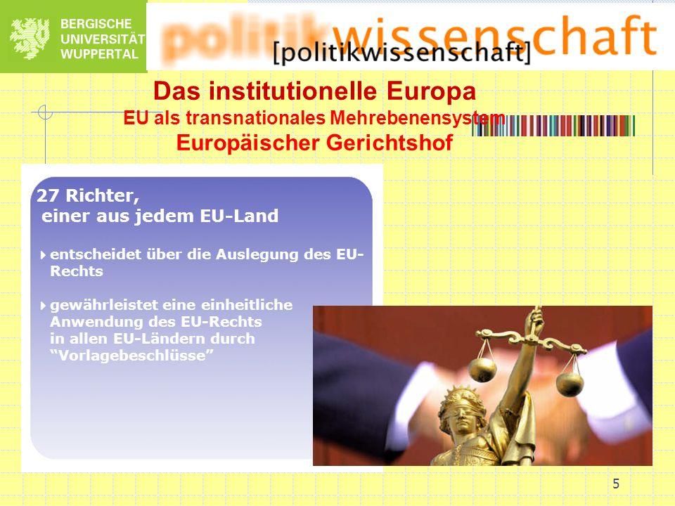 5 Das institutionelle Europa EU als transnationales Mehrebenensystem Europäischer Gerichtshof 27 Richter, einer aus jedem EU-Land entscheidet über die