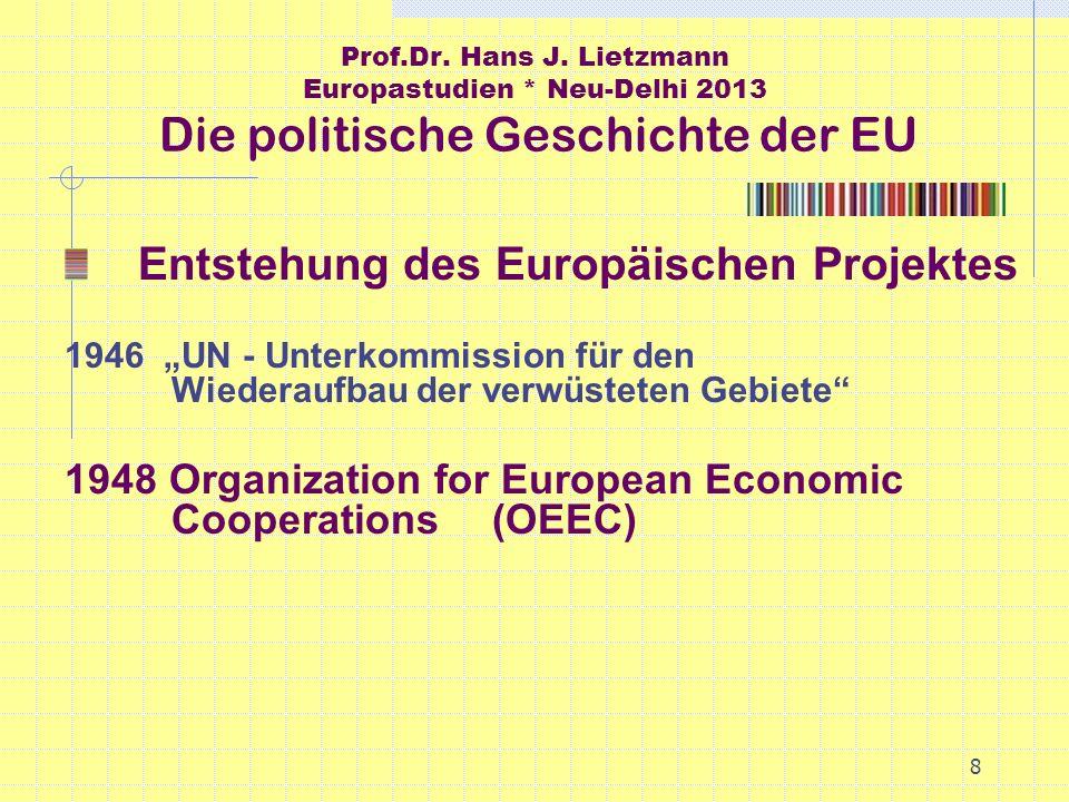 8 Prof.Dr. Hans J. Lietzmann Europastudien * Neu-Delhi 2013 Die politische Geschichte der EU Entstehung des Europäischen Projektes 1946 UN - Unterkomm