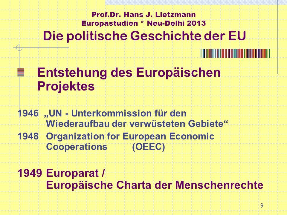 9 Prof.Dr. Hans J. Lietzmann Europastudien * Neu-Delhi 2013 Die politische Geschichte der EU Entstehung des Europäischen Projektes 1946 UN - Unterkomm