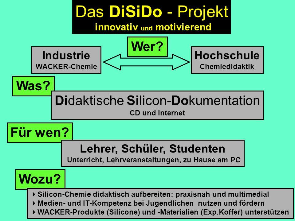 Industrie WACKER-Chemie Hochschule Chemiedidaktik Wer? Was? Für wen? Wozu? Silicon-Chemie didaktisch aufbereiten: praxisnah und multimedial Medien- un
