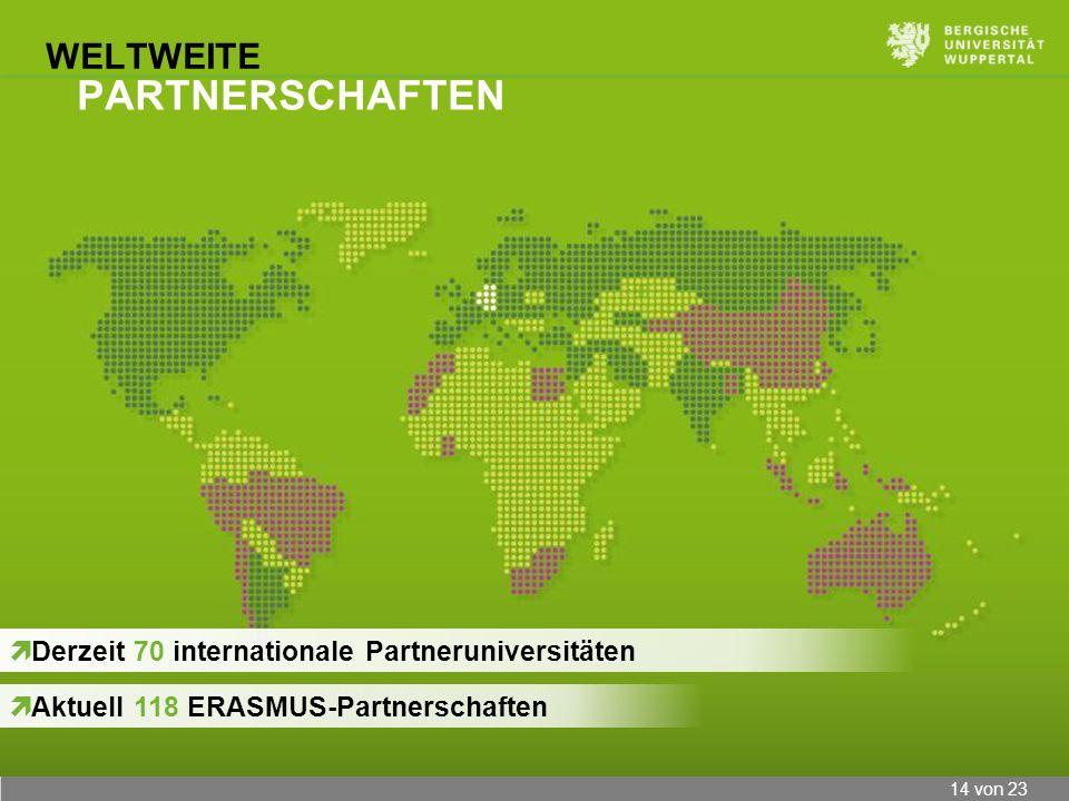 14 von 23 WELTWEITE PARTNERSCHAFTEN Derzeit 70 internationale Partneruniversitäten Aktuell 118 ERASMUS-Partnerschaften