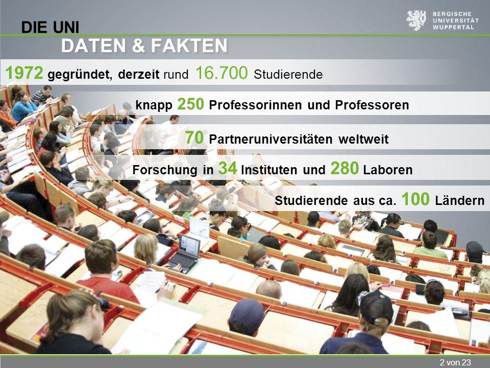 2 von 23 DIE UNI DATEN & FAKTEN 1972 gegründet, derzeit rund 16.700 Studierende Studierende aus ca. 100 Ländern knapp 250 Professorinnen und Professor