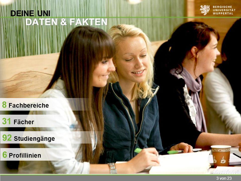 3 von 23 DEINE UNI DATEN & FAKTEN 6 Profillinien 8 Fachbereiche 31 Fächer 92 Studiengänge