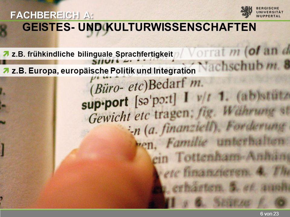 6 von 23 FACHBEREICH A: z.B. frühkindliche bilinguale Sprachfertigkeit GEISTES- UND KULTURWISSENSCHAFTEN z.B. Europa, europäische Politik und Integrat
