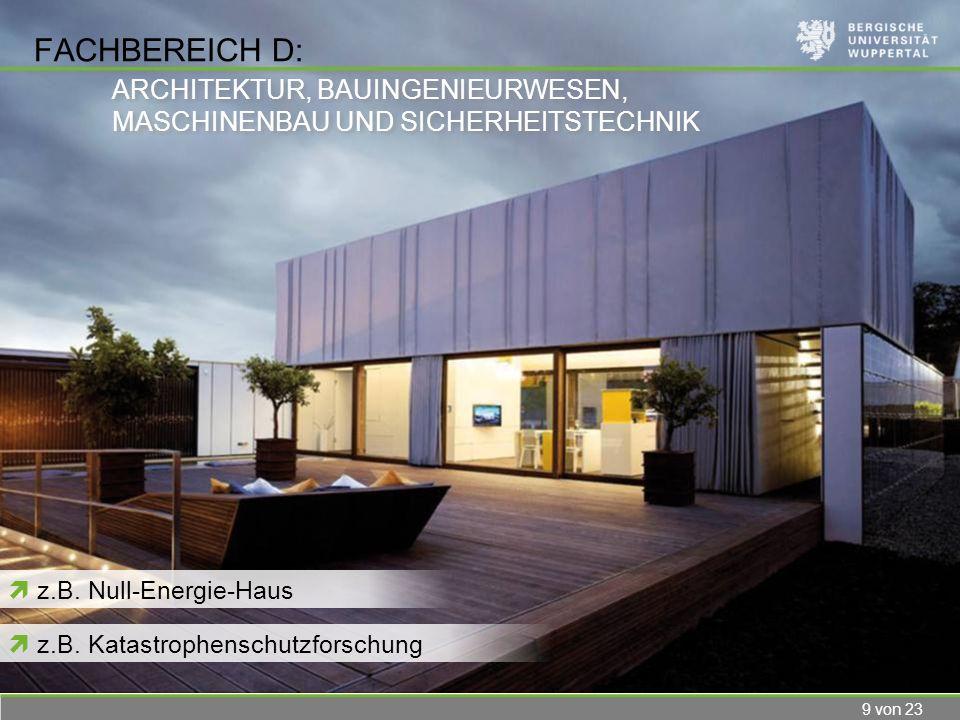 9 von 23 FACHBEREICH D: z.B. Null-Energie-Haus ARCHITEKTUR, BAUINGENIEURWESEN, MASCHINENBAU UND SICHERHEITSTECHNIK ARCHITEKTUR, BAUINGENIEURWESEN, MAS