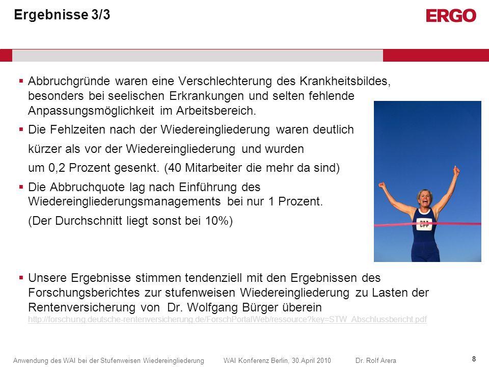 Anwendung des WAI bei der Stufenweisen Wiedereingliederung WAI Konferenz Berlin, 30.April 2010Dr.