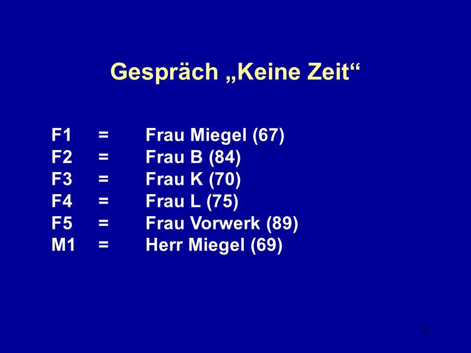 21 Gespräch Keine Zeit F1=Frau Miegel (67) F2=Frau B (84) F3=Frau K (70) F4=Frau L (75) F5=Frau Vorwerk (89) M1=Herr Miegel (69)