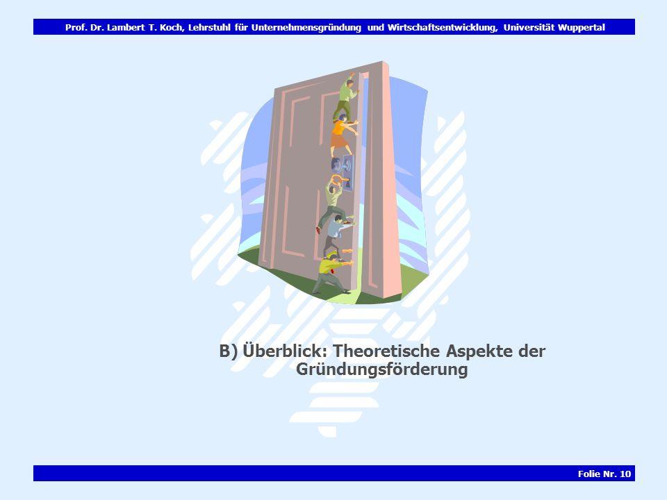 Prof. Dr. Lambert T. Koch, Lehrstuhl für Unternehmensgründung und Wirtschaftsentwicklung, Universität Wuppertal Folie Nr. 10 B) Überblick: Theoretisch