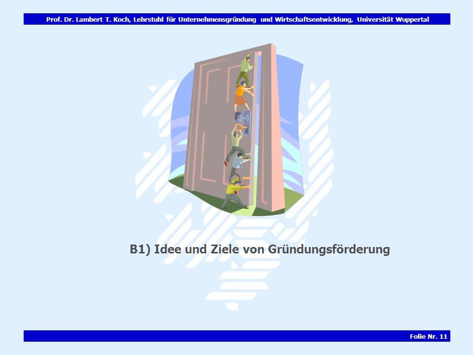 Prof. Dr. Lambert T. Koch, Lehrstuhl für Unternehmensgründung und Wirtschaftsentwicklung, Universität Wuppertal Folie Nr. 11 B1) Idee und Ziele von Gr