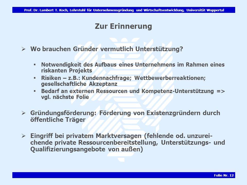 Prof. Dr. Lambert T. Koch, Lehrstuhl für Unternehmensgründung und Wirtschaftsentwicklung, Universität Wuppertal Folie Nr. 12 Zur Erinnerung Wo brauche