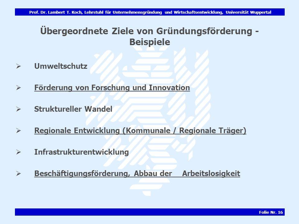 Prof. Dr. Lambert T. Koch, Lehrstuhl für Unternehmensgründung und Wirtschaftsentwicklung, Universität Wuppertal Folie Nr. 16 Übergeordnete Ziele von G