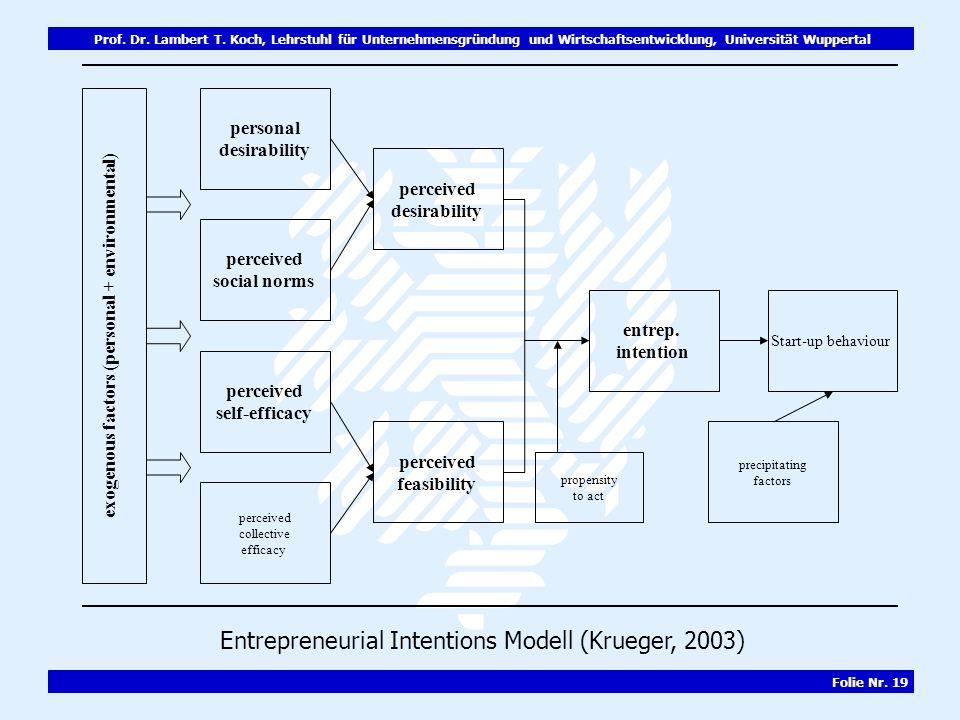 Prof. Dr. Lambert T. Koch, Lehrstuhl für Unternehmensgründung und Wirtschaftsentwicklung, Universität Wuppertal Folie Nr. 19 exogenous factors (person