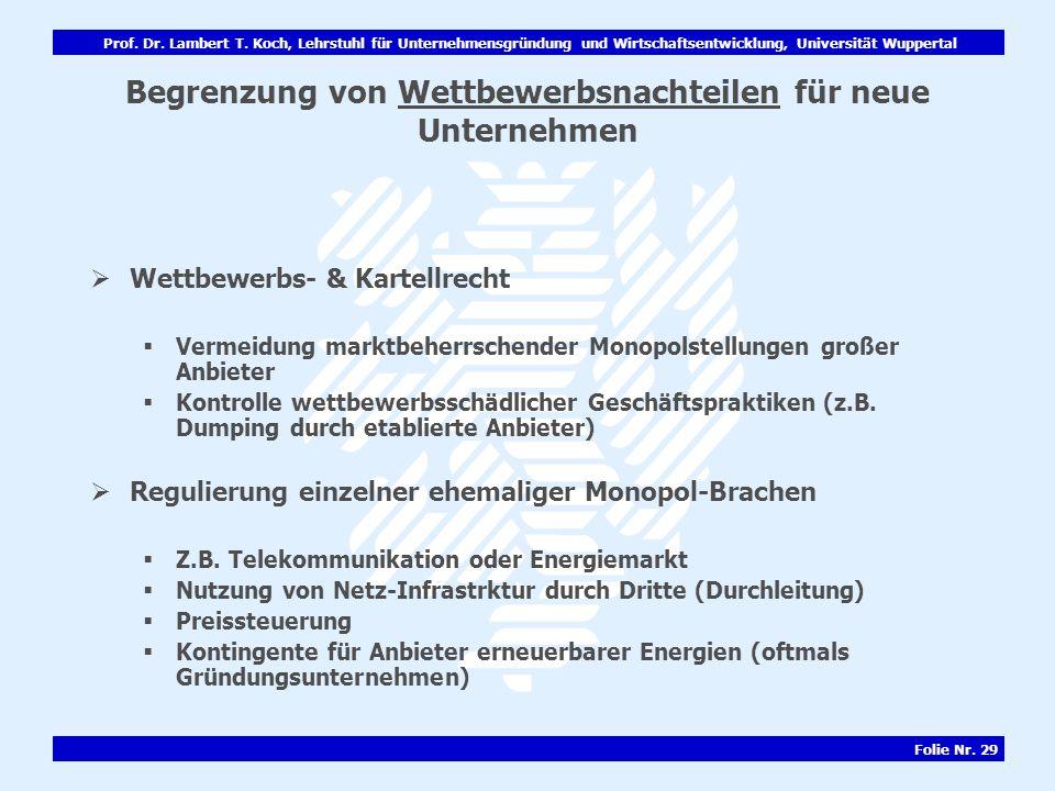 Prof. Dr. Lambert T. Koch, Lehrstuhl für Unternehmensgründung und Wirtschaftsentwicklung, Universität Wuppertal Folie Nr. 29 Begrenzung von Wettbewerb
