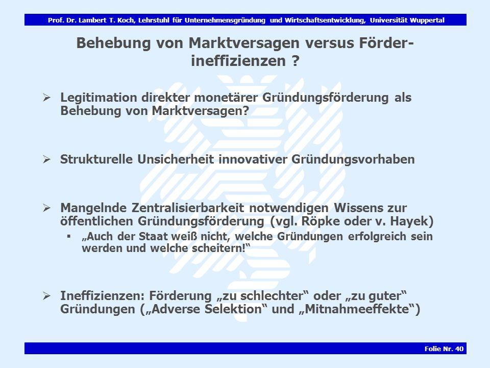 Prof. Dr. Lambert T. Koch, Lehrstuhl für Unternehmensgründung und Wirtschaftsentwicklung, Universität Wuppertal Folie Nr. 40 Behebung von Marktversage