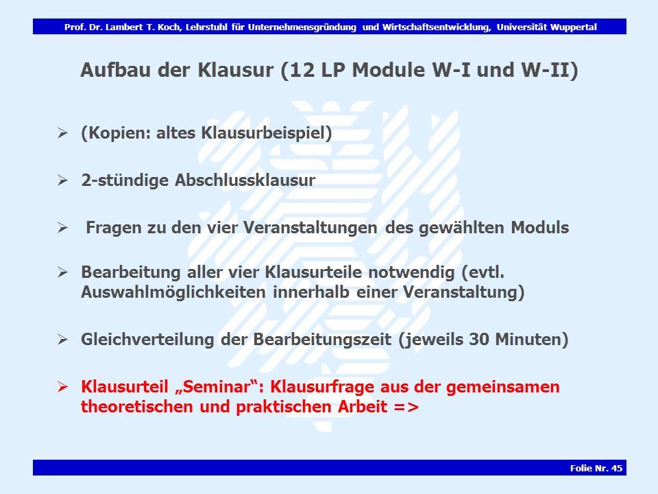Prof. Dr. Lambert T. Koch, Lehrstuhl für Unternehmensgründung und Wirtschaftsentwicklung, Universität Wuppertal Folie Nr. 45 Aufbau der Klausur (12 LP