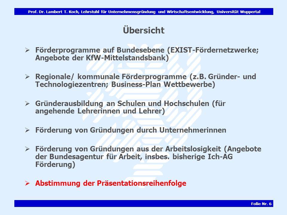 Prof. Dr. Lambert T. Koch, Lehrstuhl für Unternehmensgründung und Wirtschaftsentwicklung, Universität Wuppertal Folie Nr. 6 Übersicht Förderprogramme