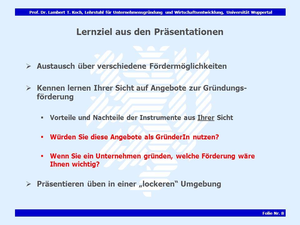 Prof. Dr. Lambert T. Koch, Lehrstuhl für Unternehmensgründung und Wirtschaftsentwicklung, Universität Wuppertal Folie Nr. 8 Lernziel aus den Präsentat