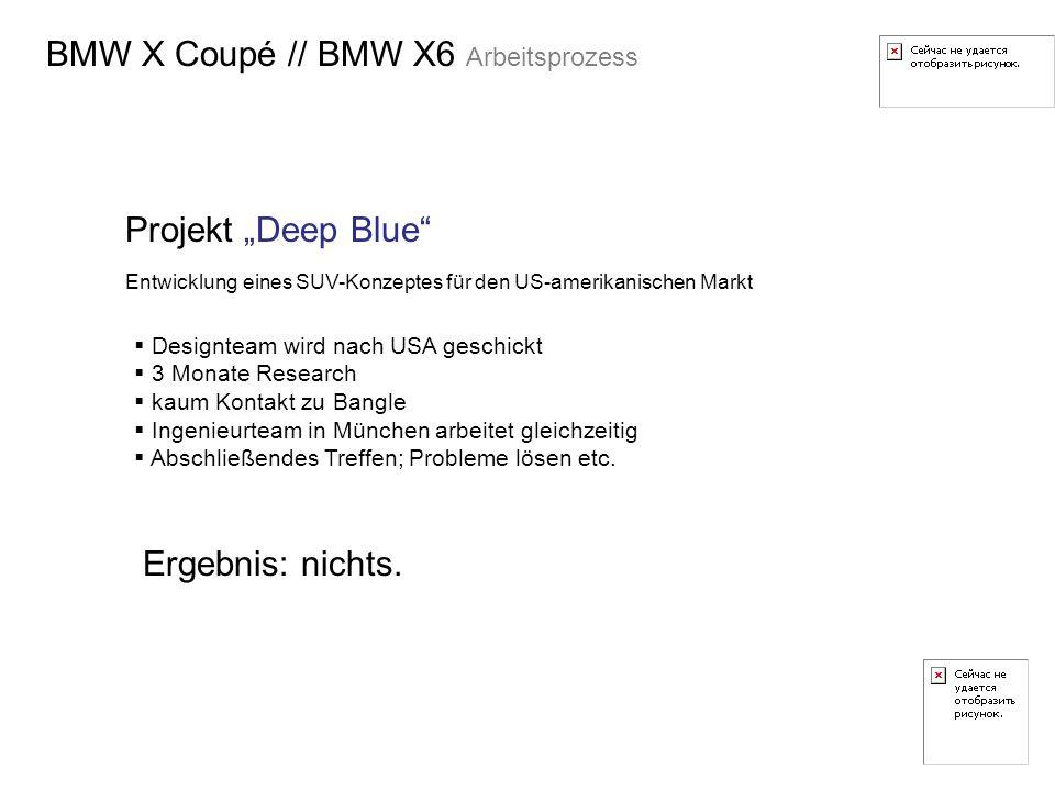 BMW X Coupé // BMW X6 Arbeitsprozess Projekt Deep Blue Entwicklung eines SUV-Konzeptes für den US-amerikanischen Markt Designteam wird nach USA geschi