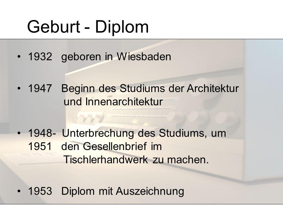 Geburt - Diplom 1932 geboren in Wiesbaden 1947 Beginn des Studiums der Architektur und Innenarchitektur 1948- Unterbrechung des Studiums, um 1951 den