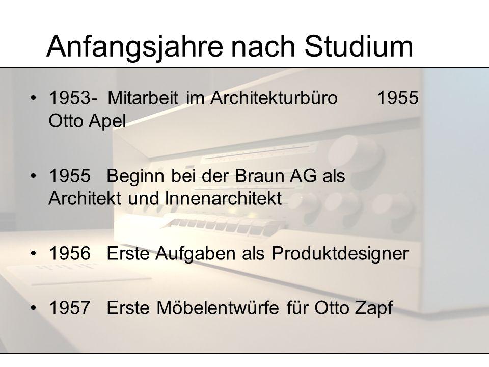Anfangsjahre nach Studium 1953- Mitarbeit im Architekturbüro 1955 Otto Apel 1955 Beginn bei der Braun AG als Architekt und Innenarchitekt 1956 Erste A