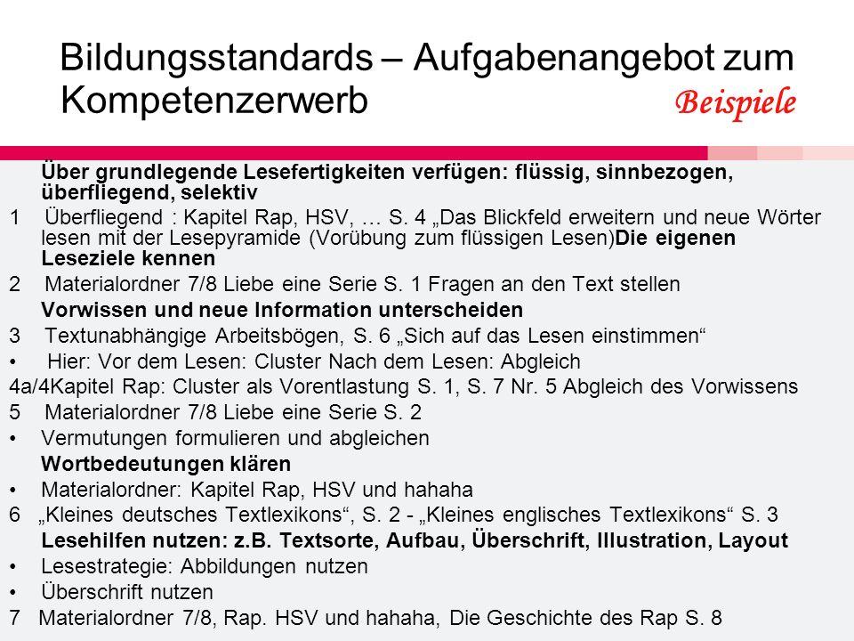 Bildungsstandards – Aufgabenangebot zum Kompetenzerwerb Beispiele Über grundlegende Lesefertigkeiten verfügen: flüssig, sinnbezogen, überfliegend, sel