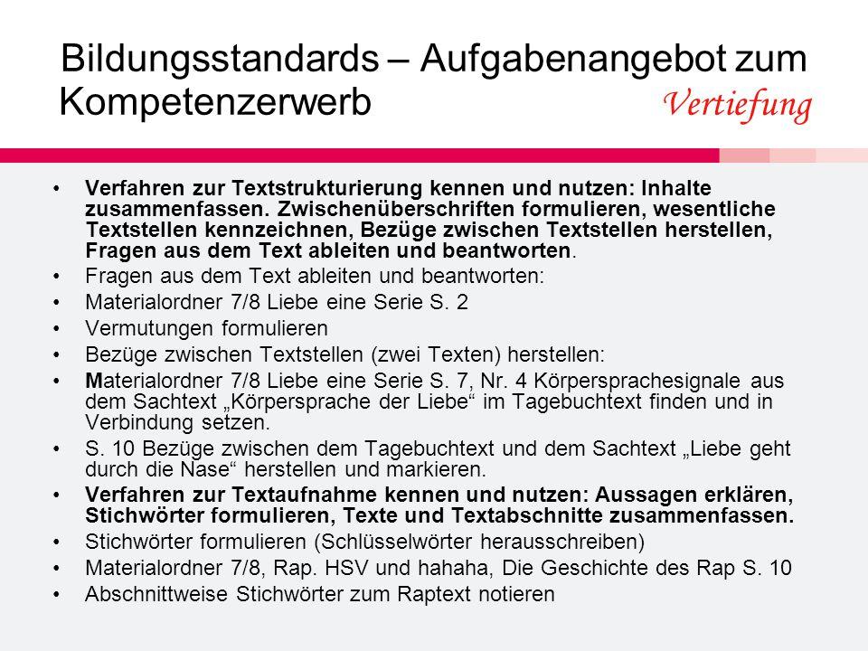 Bildungsstandards – Aufgabenangebot zum Kompetenzerwerb Vertiefung Verfahren zur Textstrukturierung kennen und nutzen: Inhalte zusammenfassen.
