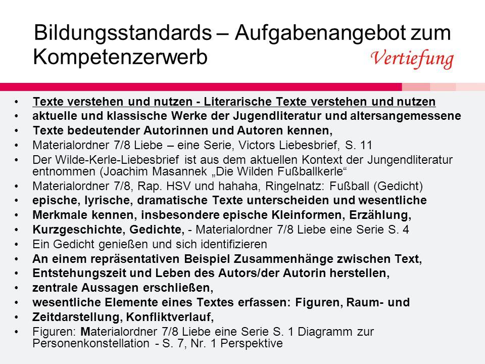 Bildungsstandards – Aufgabenangebot zum Kompetenzerwerb Vertiefung Texte verstehen und nutzen - Literarische Texte verstehen und nutzen aktuelle und k