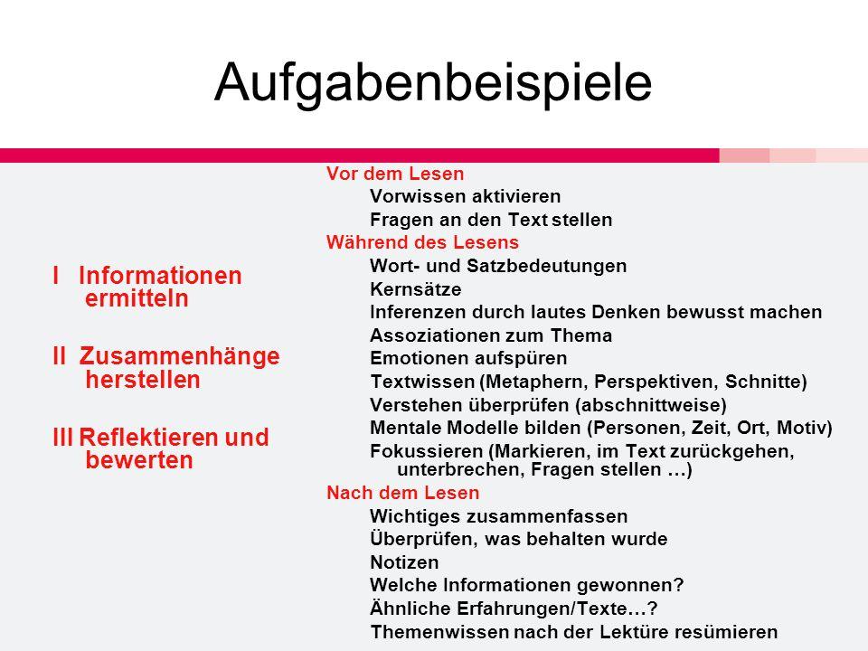 Aufgabenbeispiele I Informationen ermitteln II Zusammenhänge herstellen III Reflektieren und bewerten Vor dem Lesen Vorwissen aktivieren Fragen an den