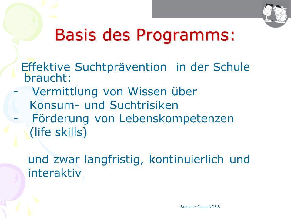 Life skills (nach Empfehlung der WHO) Problemlösen, kreatives und kritisches Denken Susanne Giese-KOSS Selbstwahrnehmung, Empathie Kommunikation Umgang mit Stress und belastenden Emotionen