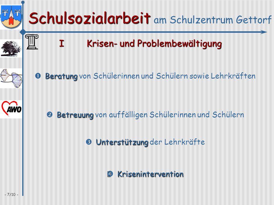 Schulsozialarbeit Schulsozialarbeit am Schulzentrum Gettorf - 7/10 - IKrisen- und Problembewältigung Krisenintervention Krisenintervention Betreuung B